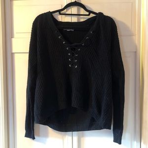 American Eagle Cropped lace up Hoodie